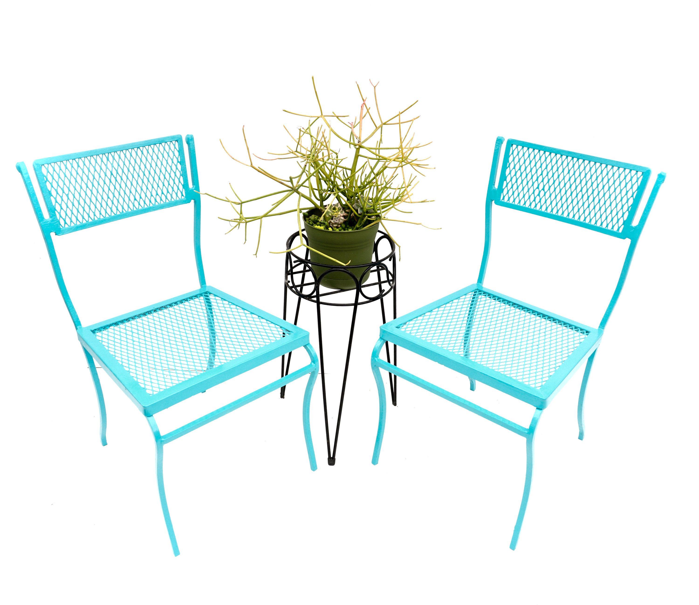 Salterini Vintage Pair Blue Wrought Iron Garden Armchairs