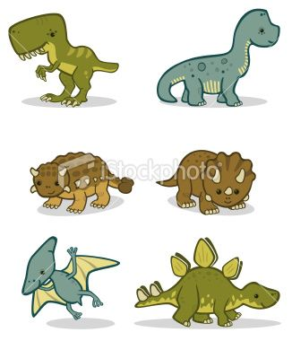 A Set Of Cute Baby Dinosaurs Includes A Tyrannosaurus Rex A
