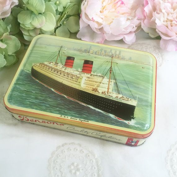 Mid Century Decorative The Rms Queen Elizabeth Ship White Star Lines Nautical Tin Litho Box Benson S English Candy Storage Container
