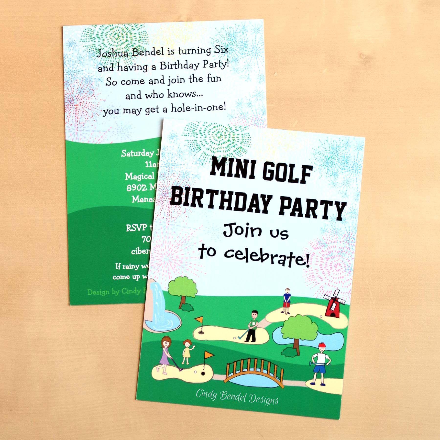 Einladung Kindergeburtstag Text Kurz Minigolf | Geburtstag Einladung ...