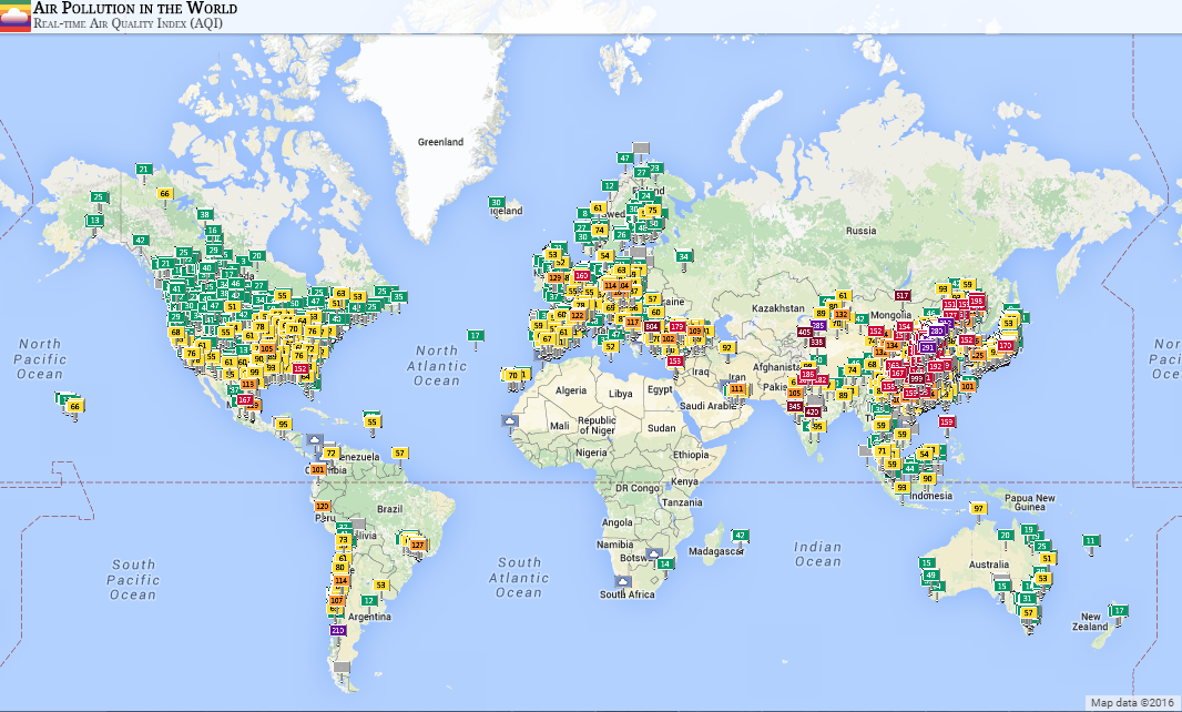 Its possible to view air quality data from all over the