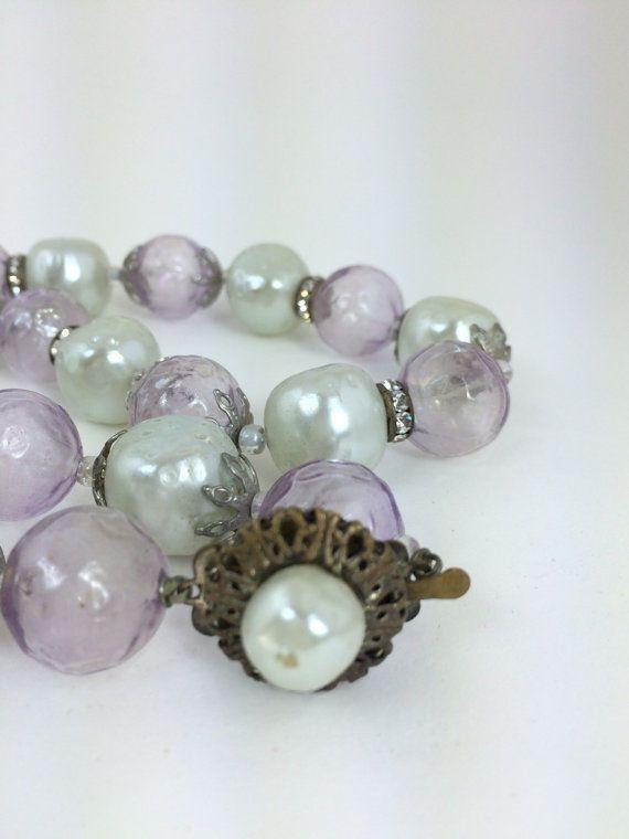 Vintage 1950s Purple Pearl Rhinestone Lucite Necklace Beads | eBay