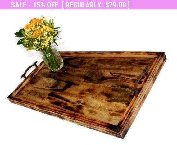 Swell Large Square Wood Serving Tray Rustic Ottoman Tray Caraccident5 Cool Chair Designs And Ideas Caraccident5Info