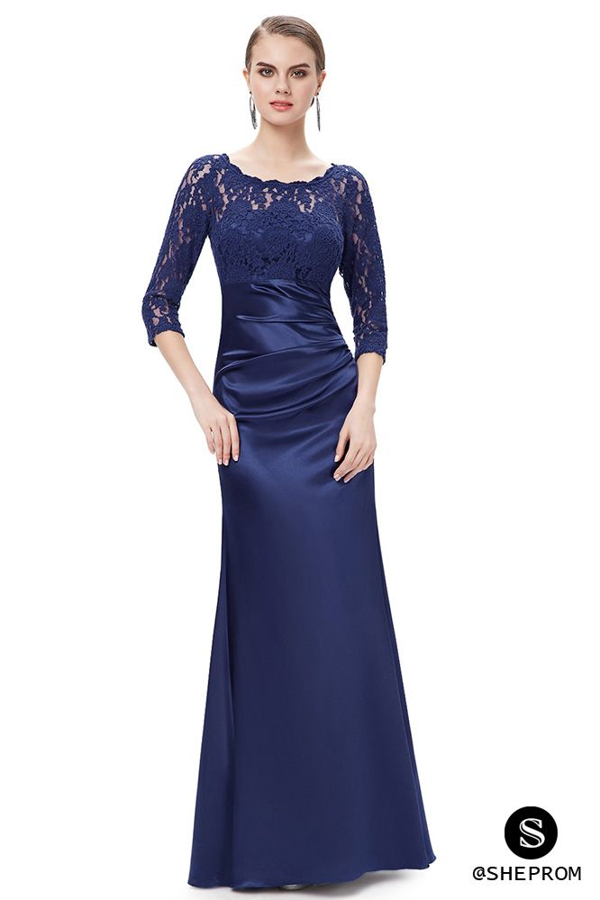 Navy Blue 3/4 Sheer Sleeves Lace Scalloped Neckline Long Formal ...