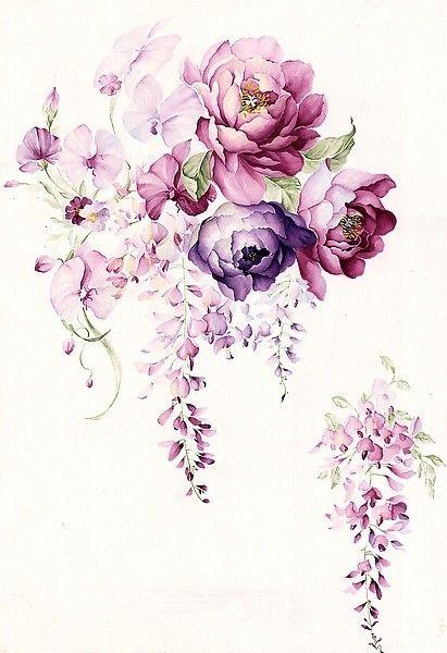 Floral Watercolor Hand Painted Flower Garden Wallpaper