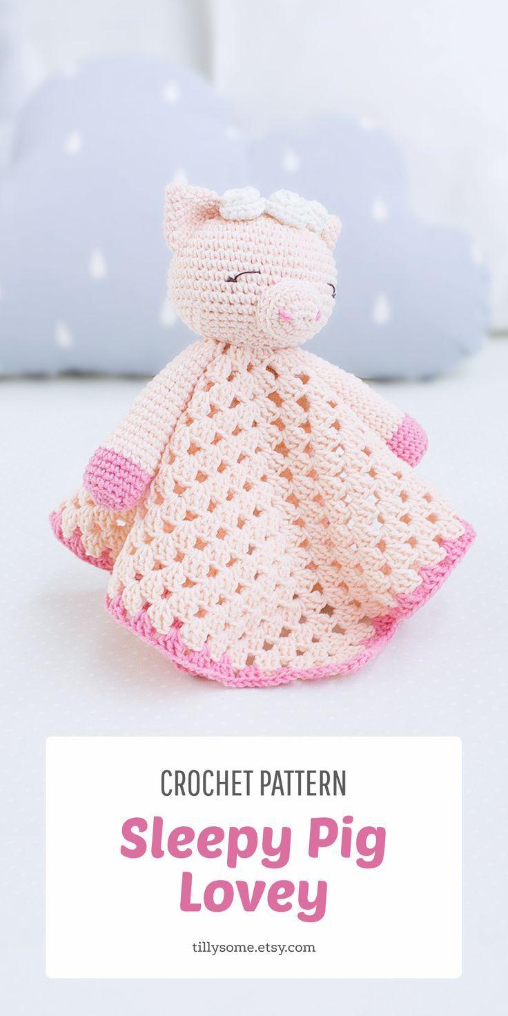 Sleepy Pig Lovey Pattern | Security Blanket | Crochet Lovey | Baby Lovey Toy | Blanket Toy | Lovey B