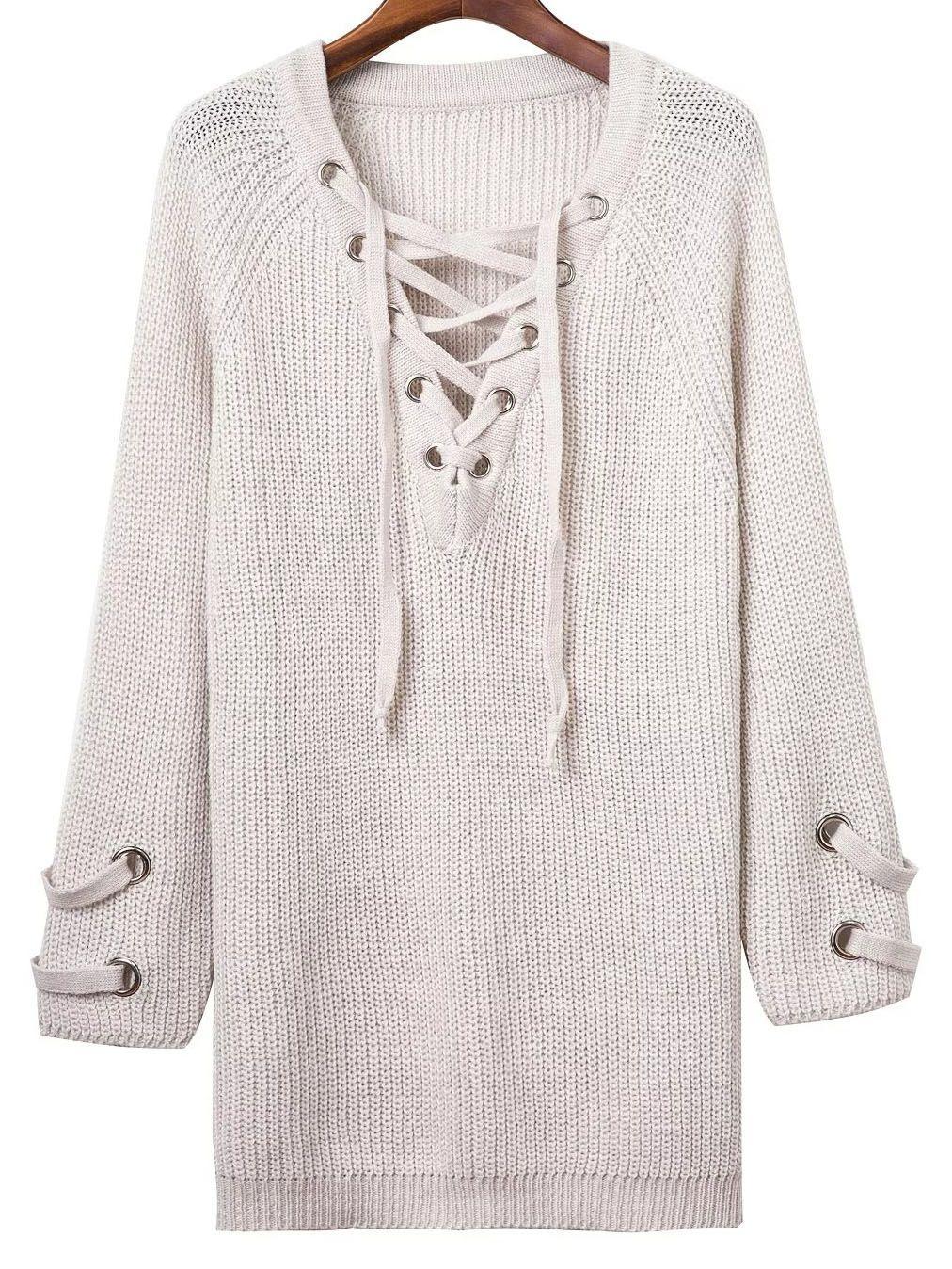 ee7573fe Vestido de punto manga larga escote V cordón-(Sheinside) | Vestidos ...