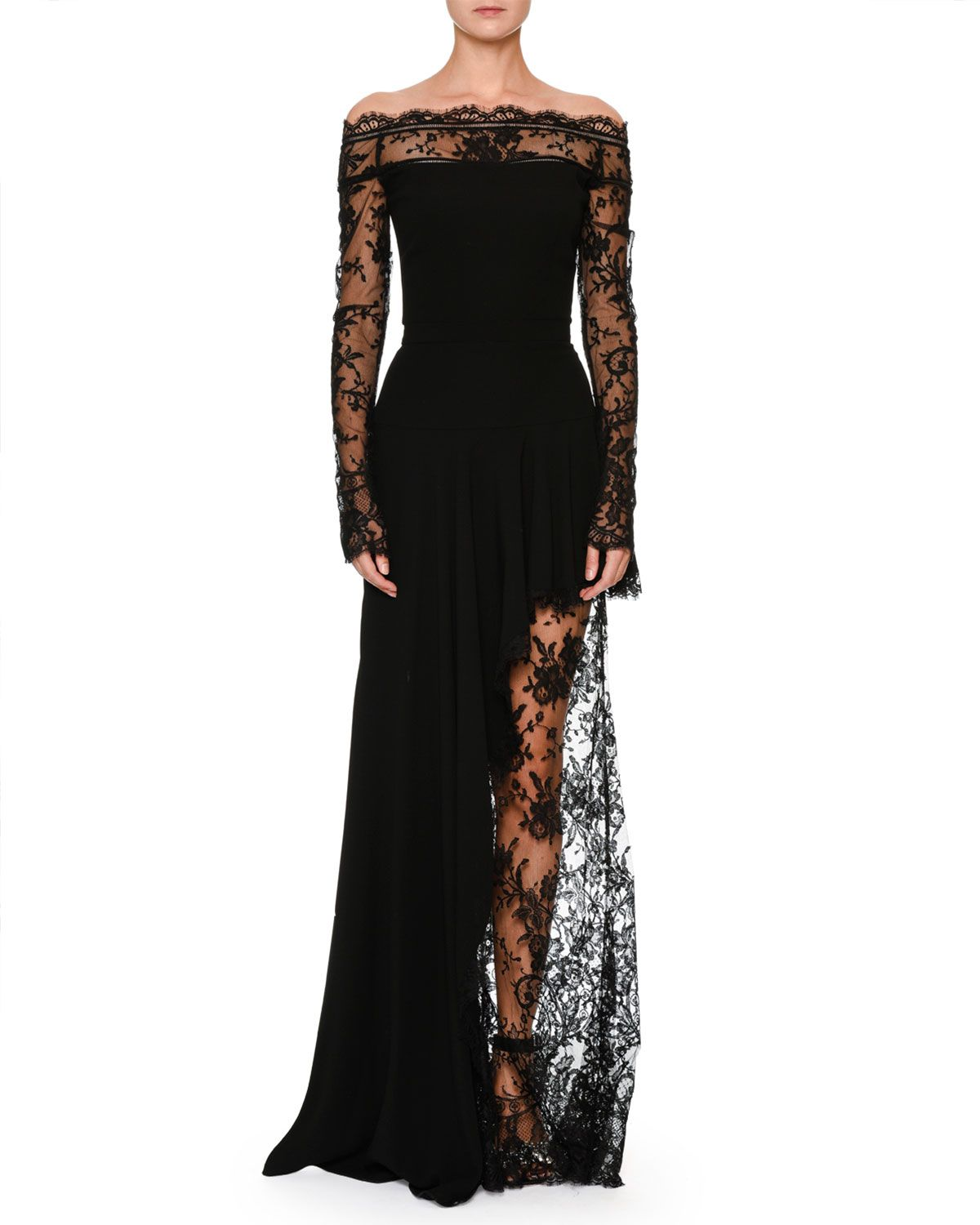 Alexander McQueen Off-the-Shoulder Lace Illusion Column Evening Gown ...