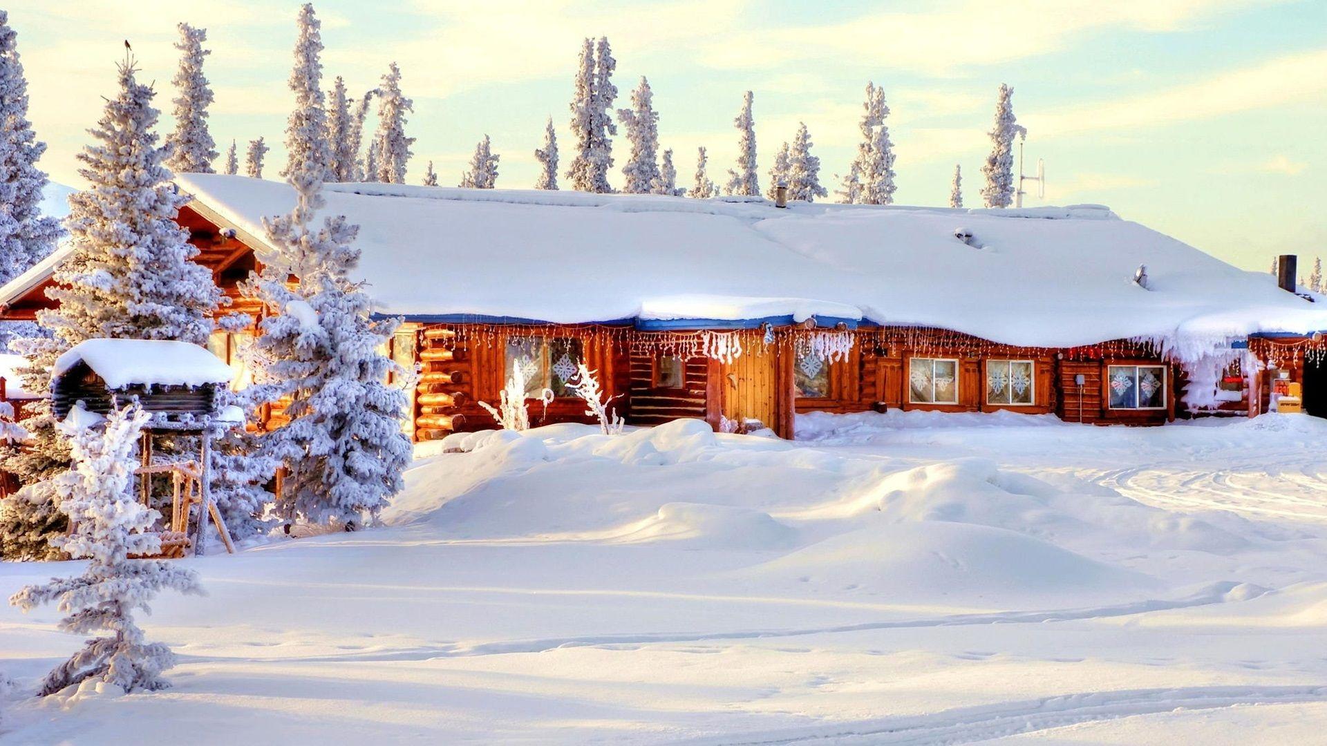 Hiver Neige Epaisse Maison Arbres Fonds D Ecran 1920x1080 Fond Ecran Hiver Fond Ecran Christmas Lodge