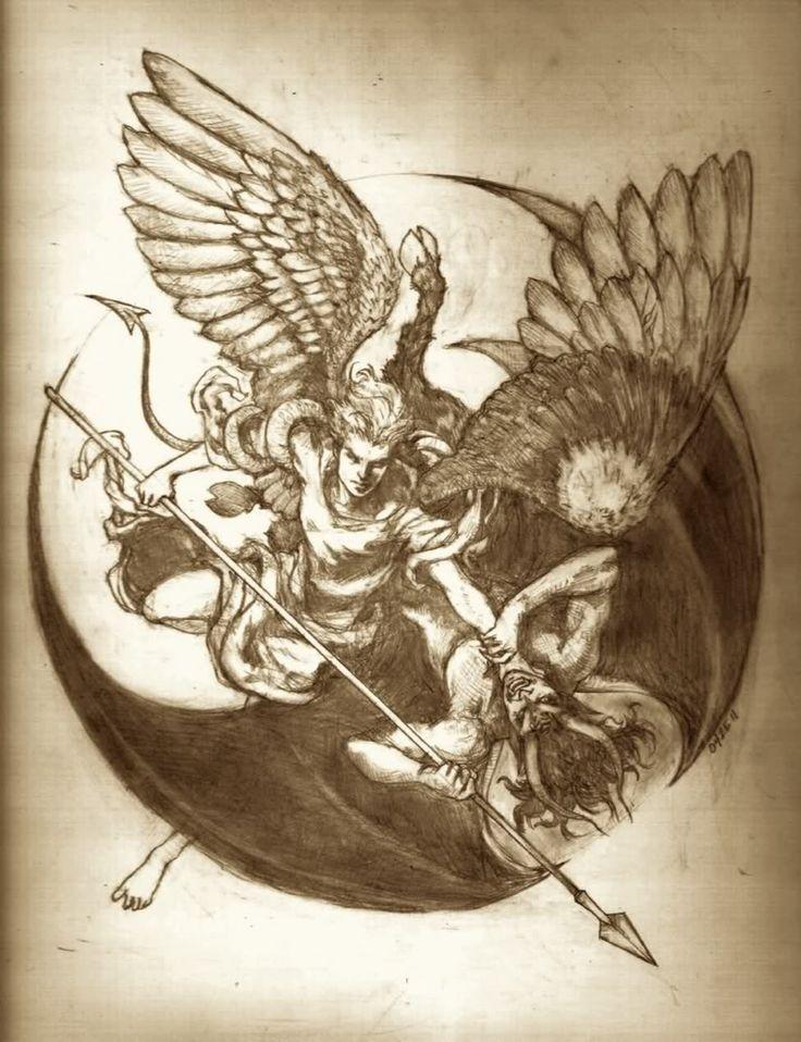 Angel Vs Demon Tattoo 10 Jpg 736 958 Demon Tattoo Angel Demon Tattoo Archangel Tattoo