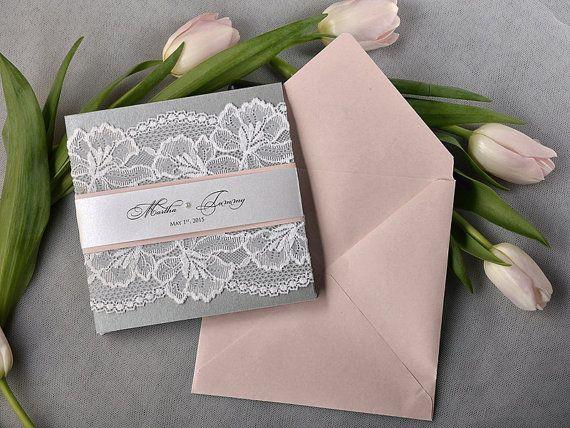 Peach and Silver Lace  Wedding Invitation Pocket by DecorisWedding, $5.40