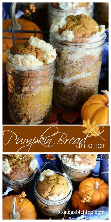 If October were a food it probably would be pumpkin bread…pumpkin bread with a crumb topping. Delicious, super moist, and full of autumn flavors! Fall in a jar! Don't you love just about any food in a jar? I sure do! I'm serving this pumpkin bread as part of a fall picnic… but it can …