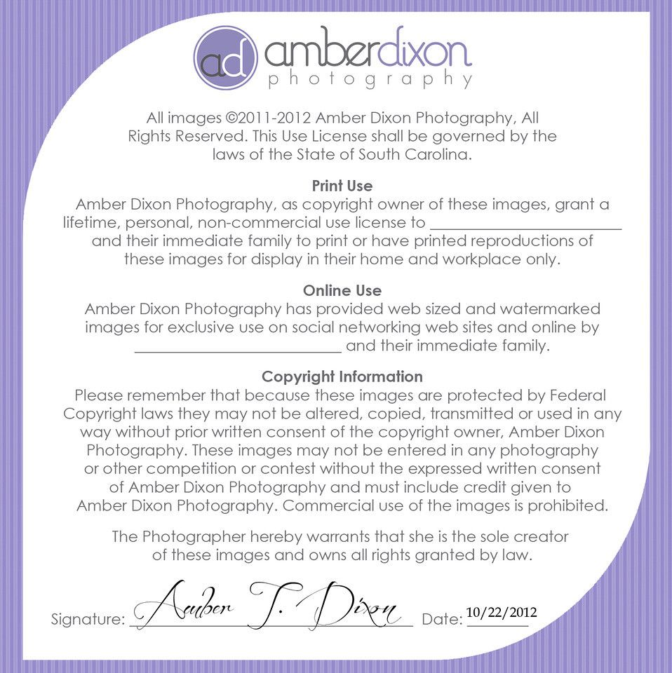 Print Release Wording  Amberdixonphotography  The Biz