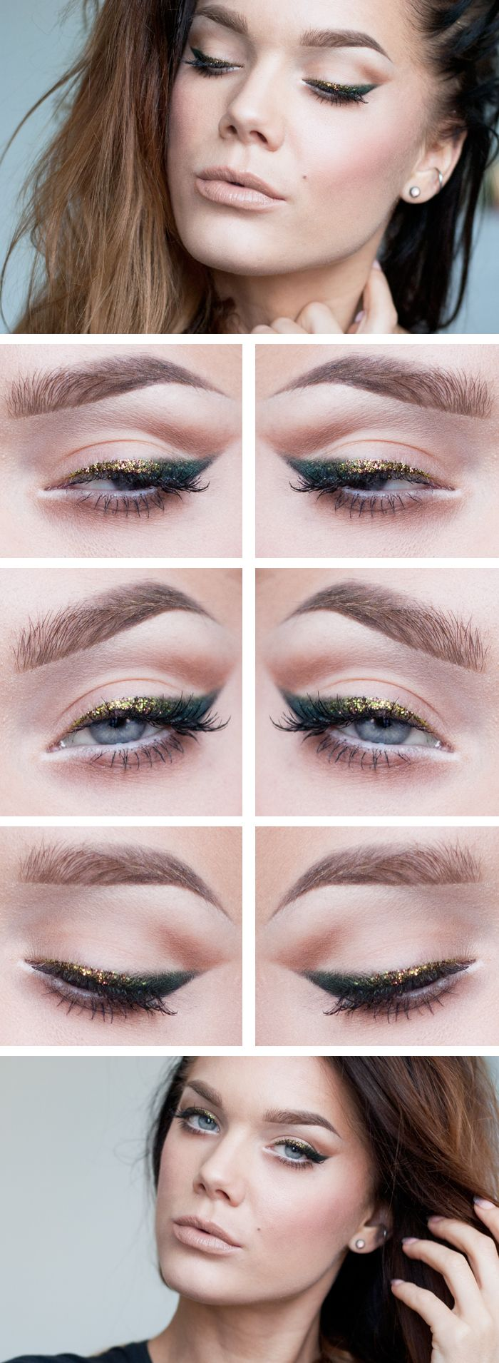 GLITTER LINER ♥ Linda Hallberg - incredible makeup artist. Very inspiring -- from her daily makeup blog. | Inspiration for upcoming projects by Adagio Images at www.adagio-images.com/modeling or www.facebook.com/adagioimages | #makeup #makeupinspiration ♥