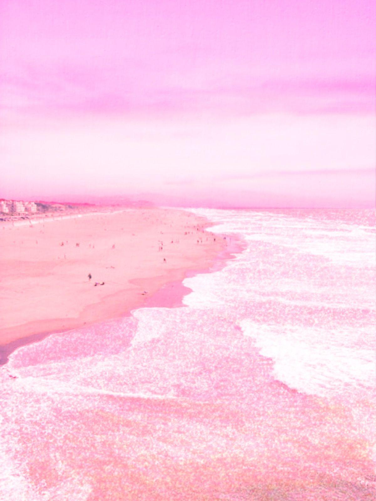 Pink Ocean Scene Wallpaper Pink And Blue Phone Wallpaper Pink Pink Aesthetic