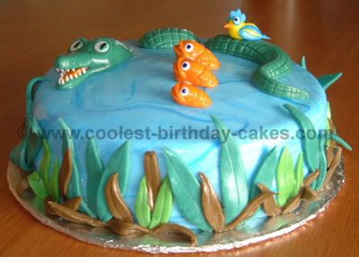 Like the composition of this cake although this alligator looks a