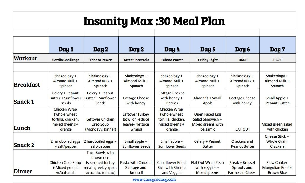 insanity max 30 workout update weekly meal plan meal plans