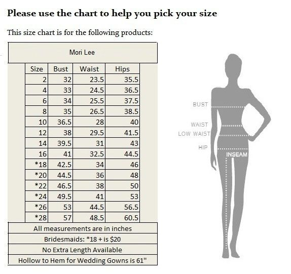 Size Chart  Wedding Gowns By  Angelina Faccenda