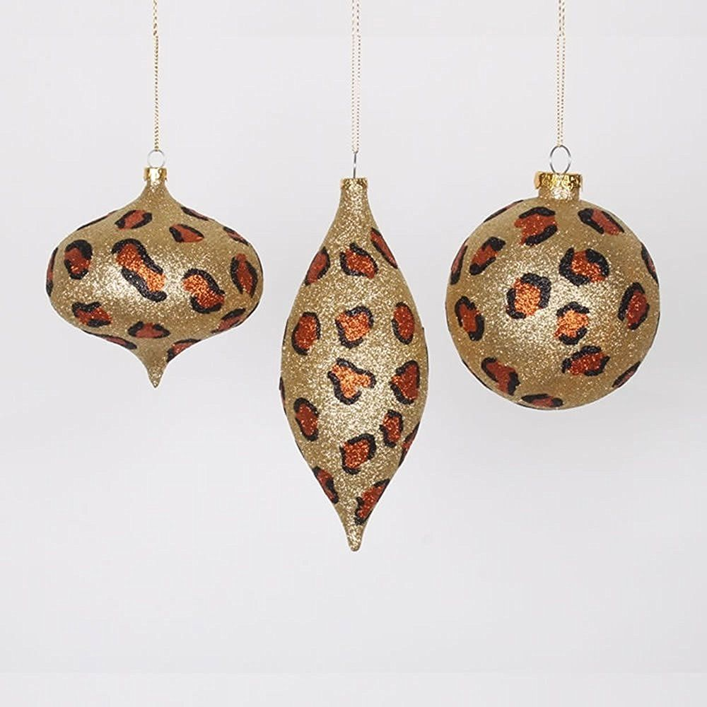 Vickerman Set Of 3 Diva Safari Glitzy Cheetah Gold Copper And Black Christmas  Ornaments