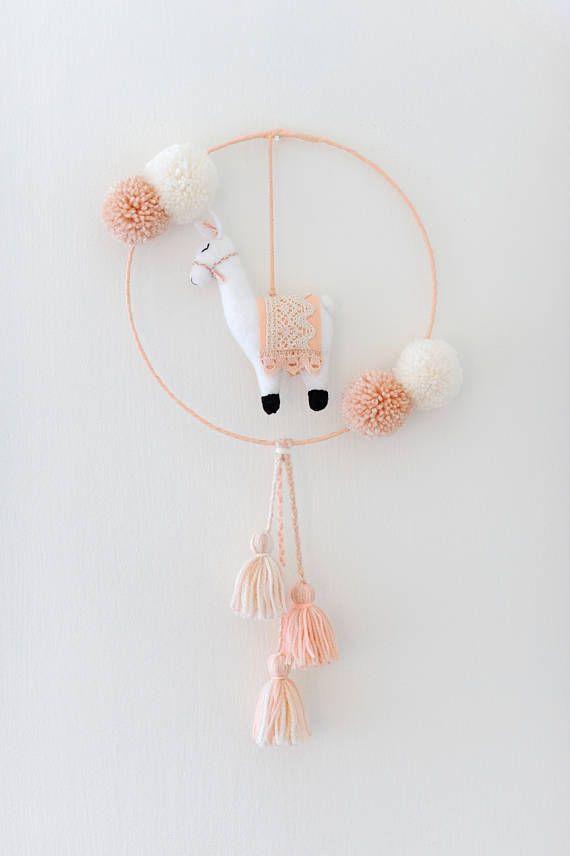 Handmade 'Llama Nursery Hanging Decor', Llama Mobile, Boho