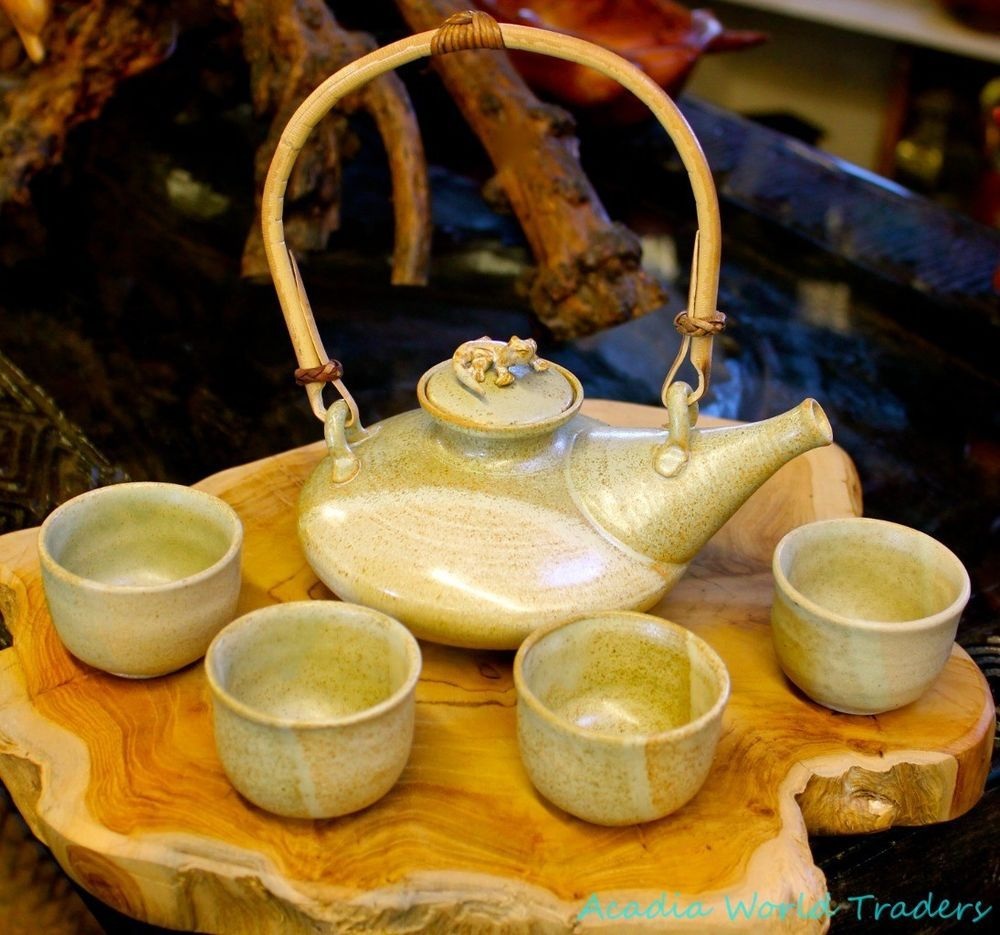 Balinese Celedon Teapot Cups~green Pottery Ceramic~Handmade Bali Art ...
