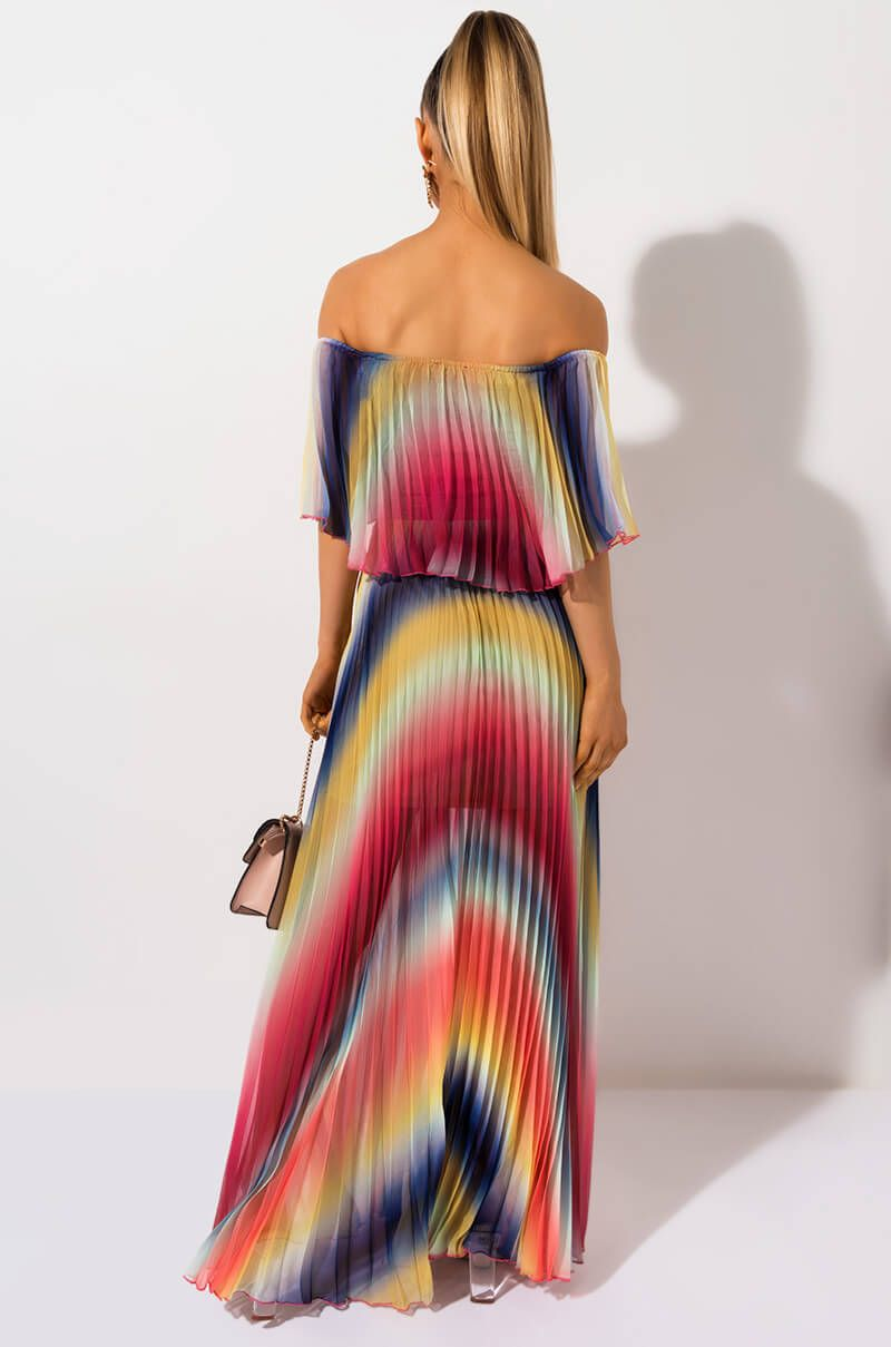 Akira Label Rainbow Pleated Off Shoulder Maxi Dress In White Rainbow Orange Rainbow Dress Pleated Maxi Dress Dresses [ 1209 x 800 Pixel ]