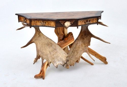Hickory Sofa Table with Antlers