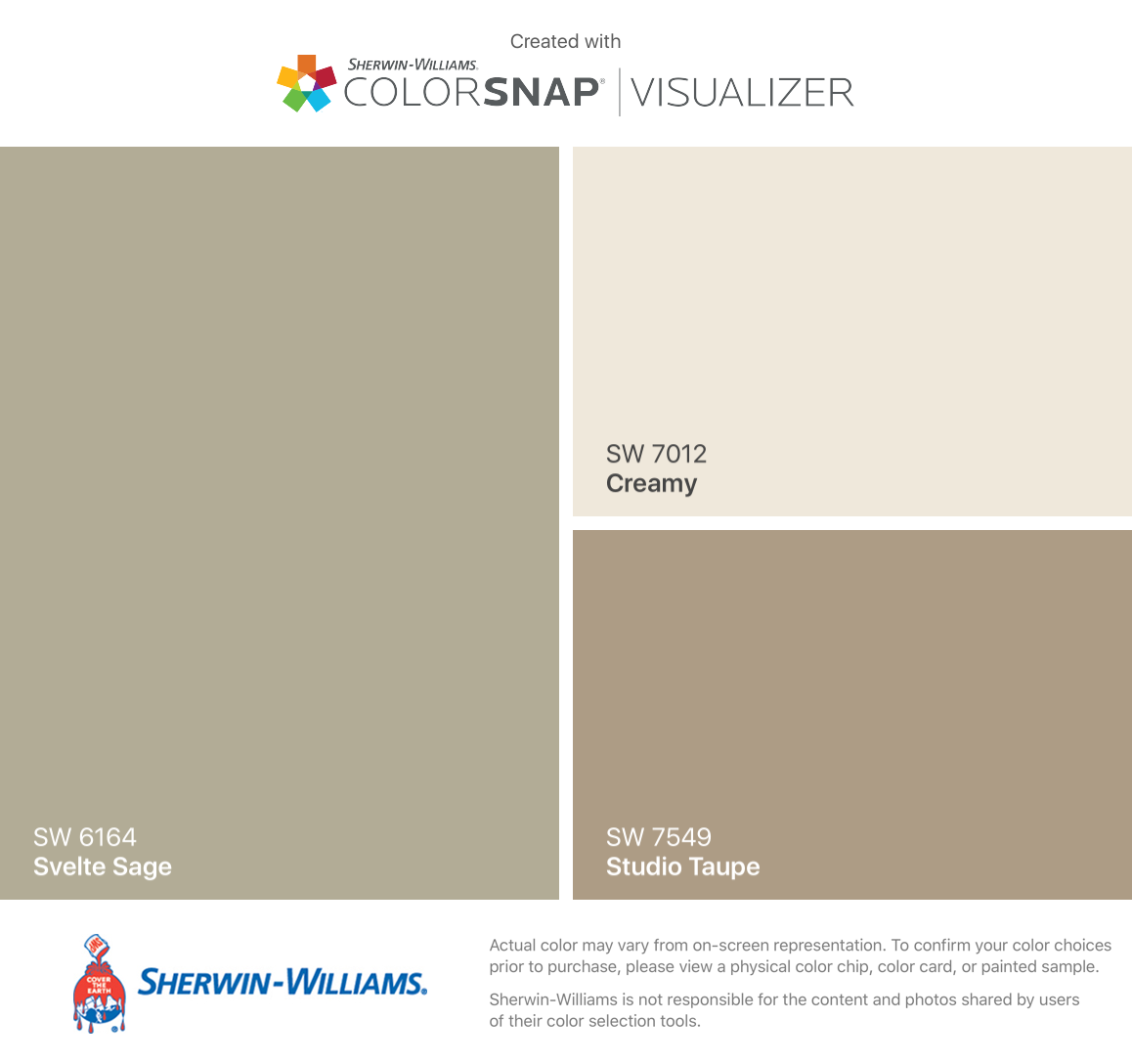 I Found These Colors With ColorSnapR Visualizer For IPhone By Sherwin Williams Svelte Sage SW 6164 Creamy 7012 Studio Taupe 7549