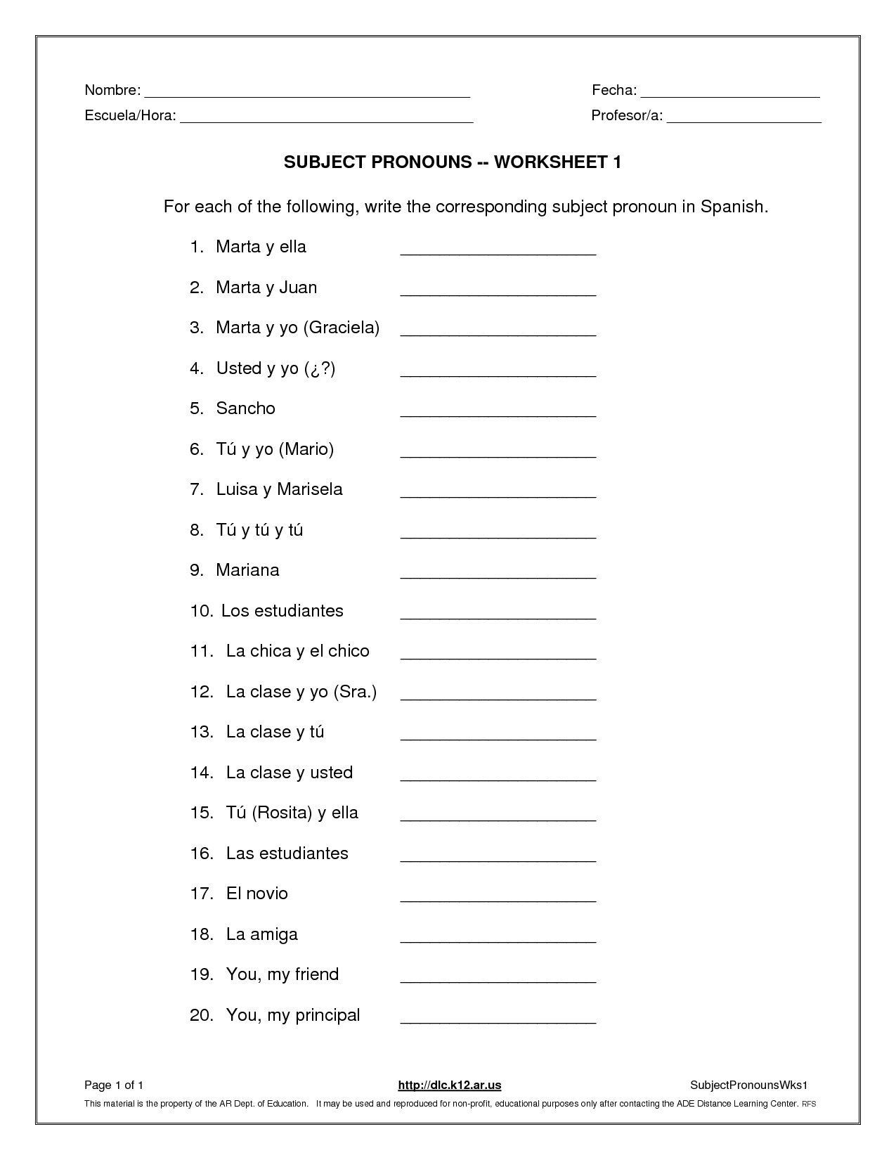 Subject Pronouns Worksheet 1 Spanish Answer Key Check More