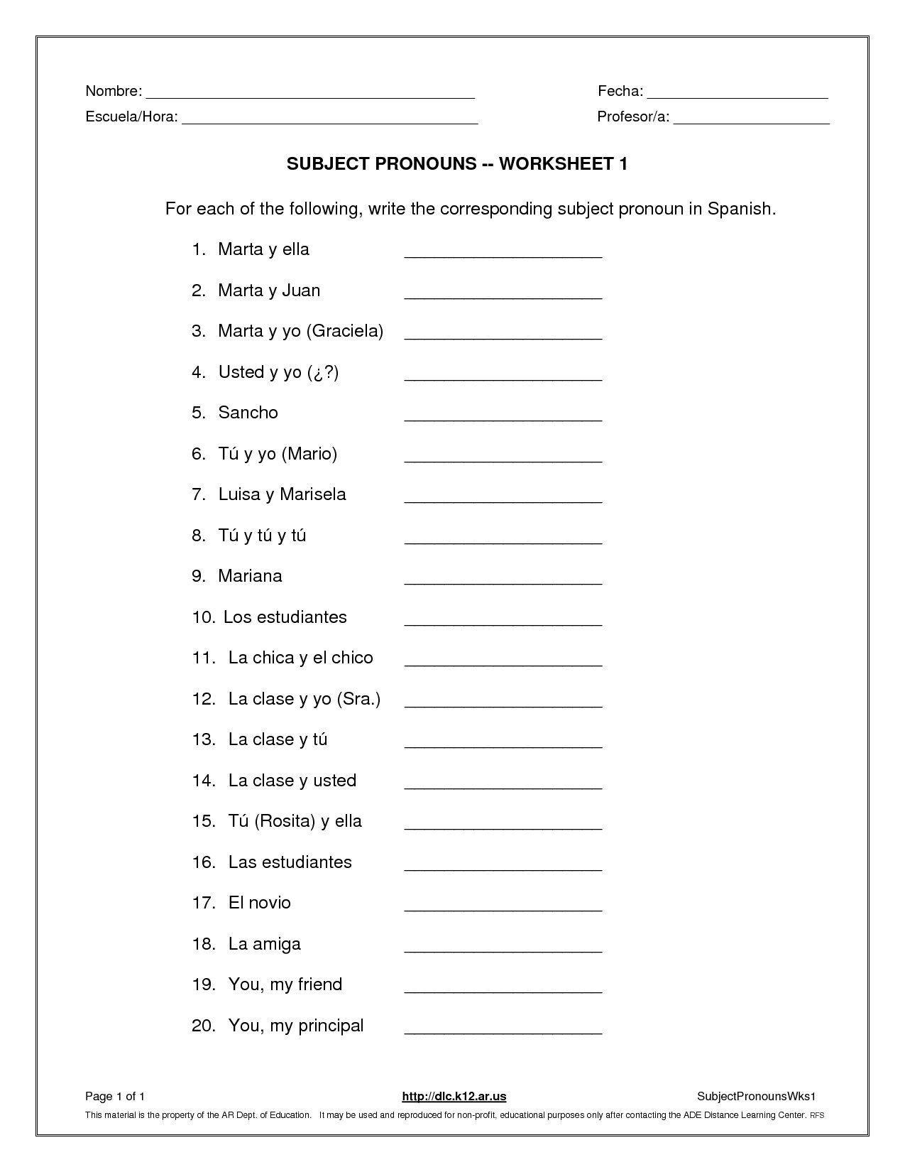 Subject Pronouns Worksheet 1 Spanish Answer Key Check More