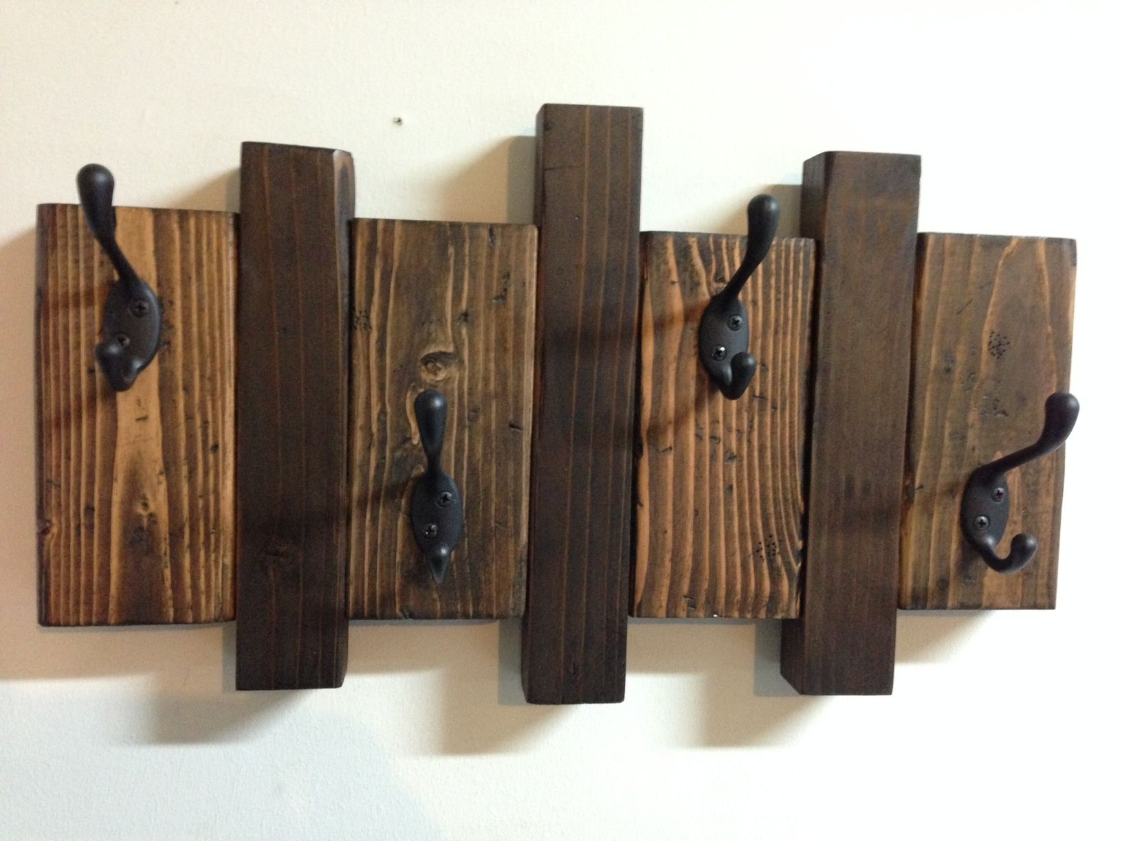 Rustic Asymmetrical Wood Coat Hook Rack Made From Reclaimed Wood