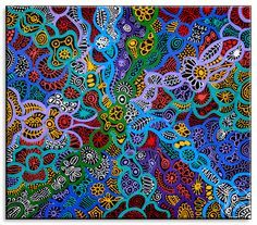 Untitled by June Smith from Ltyentye Apurte, Central Australia created a 45 x 40 cm Acrylic on Canvas painting SOLD at the Aboriginal Art Store