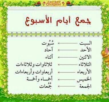 جموع أيام الأسبوع لغة عربية Arabic Language Learn Arabic Language Learn Arabic Alphabet