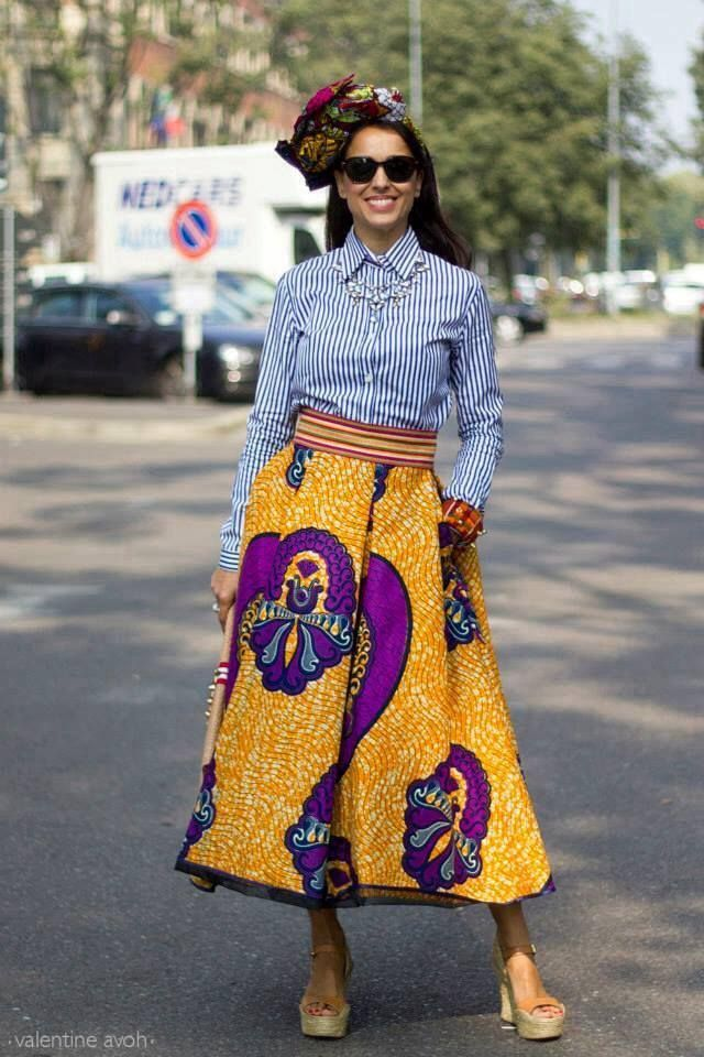 Preppy + plus African print. Love it! From https://www.facebook.com/fashion.africa