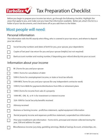 Tax Preparation Checklists Great To Print And Staple To A Folder