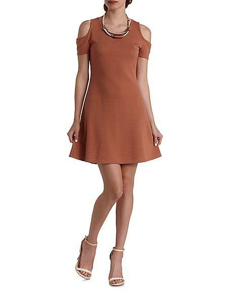 2253f6682d Ribbed Cold Shoulder Skater Dress  Charlotte Russe  dress ...