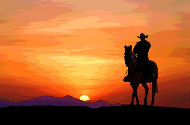 Cowboy Sunset Horse Silhouette Western Paintings Cowboy Pictures