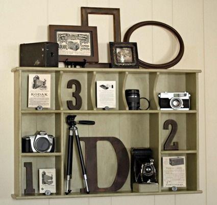 Recrea una decoración vintage en tu casa con este pequeño rincón para lucir tu afición por la fotografía.
