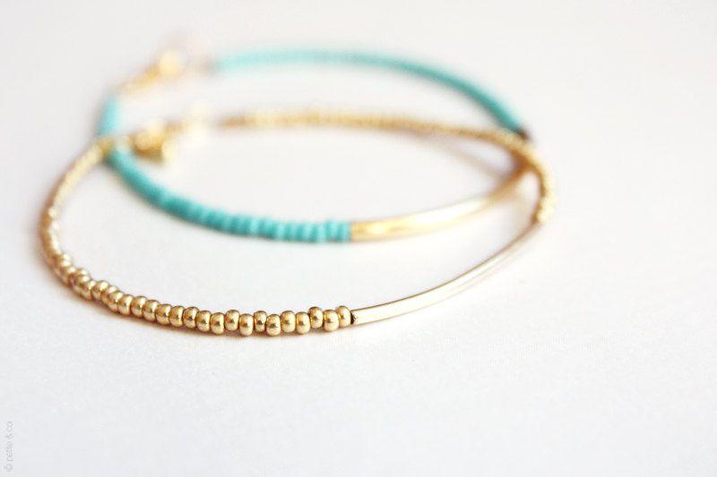 gold bar bracelet - minimalist dainty jewelry