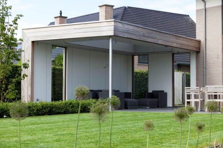 Houten terrasoverkapping overkapping hout modern bogarden overkappingen pinterest - Overdekt terras in hout ...