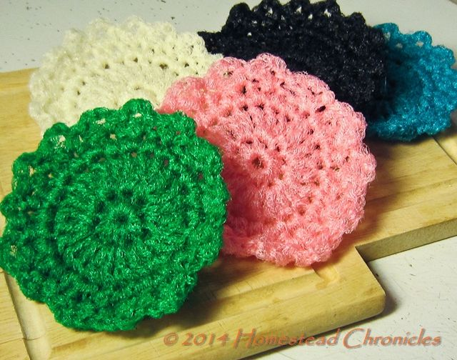 Crochet your own hard-wearing dish scrubbies & save.