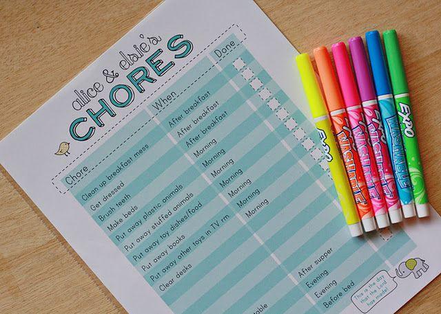 printable chore chart, dry erase