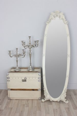 Celia Vintage Full Length Antique White Shabby Chic Dress Mirror Or Free Standing Cheval