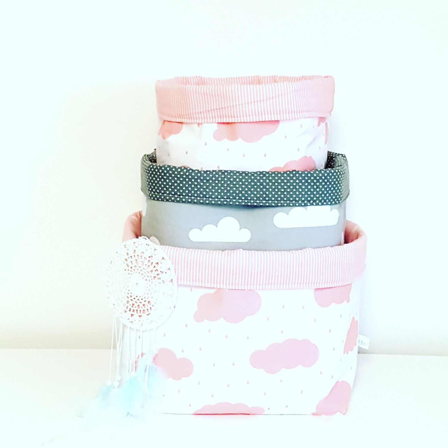 Pink And Grey Clouds Nursery Decor