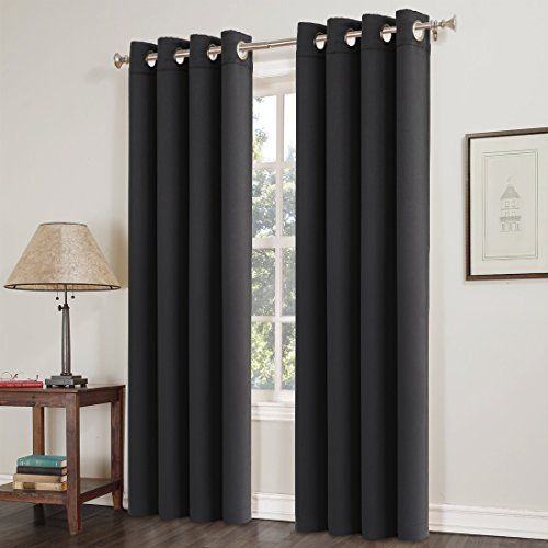 Blackout Window Curtain Panel Grommet Top Drapes 2 Panel Set Room Darkening Thermal Insulated Blackout Window Treatments (52X63inch,Black)