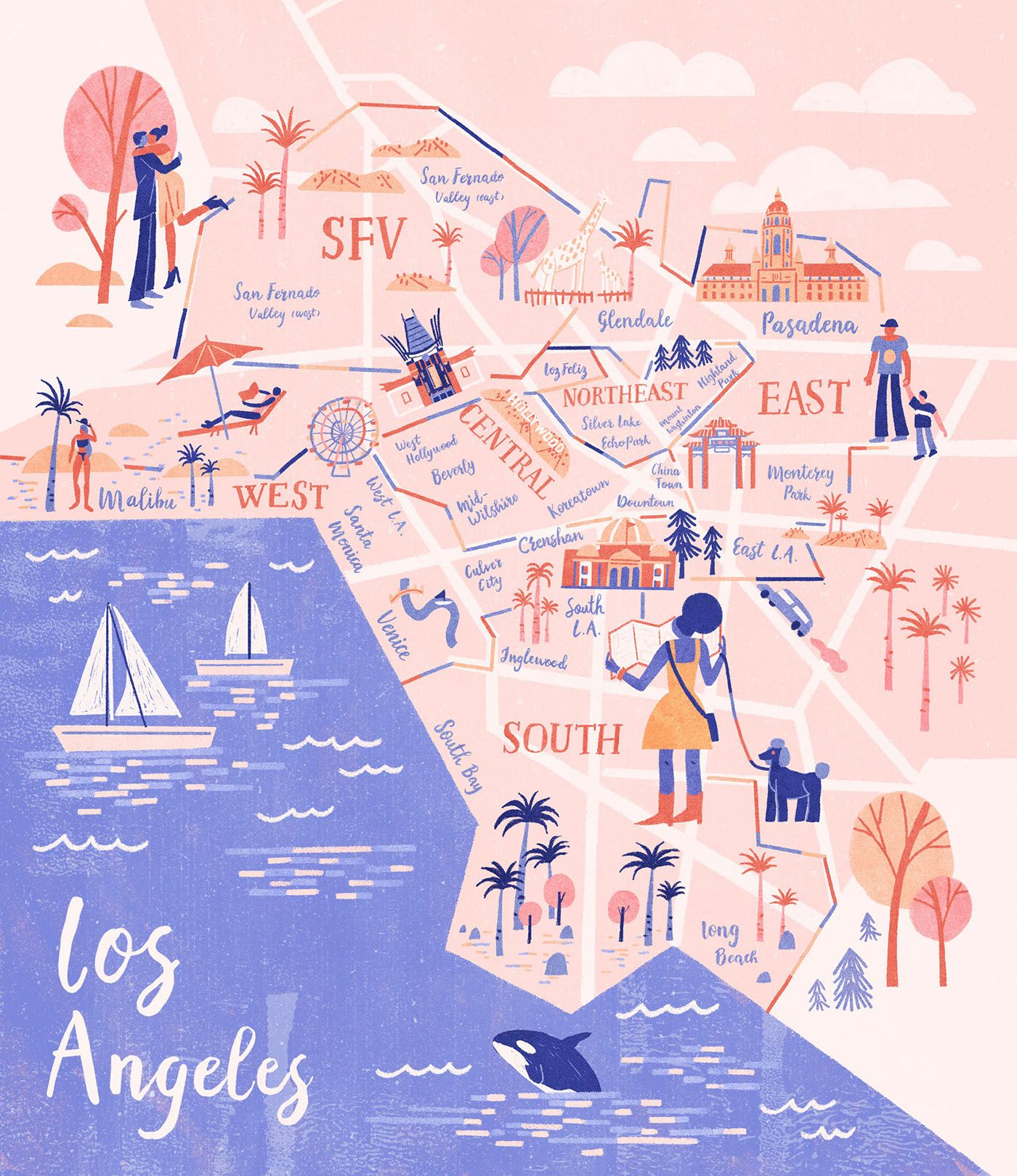 Map Illustration For La Weekly S Best Of La The Neighborhood Edition Illustrated Map Maps Illustration Design Illustration