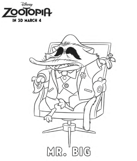 Big Is A Character In The Upcoming Disney Movie Zootopia And Also An Arctic Shrew Just Print Color This Free Printable Coloring Sheet