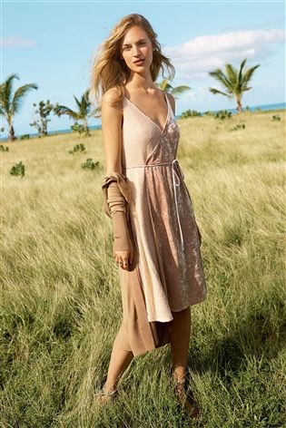 Buy Nude Velvet Wrap Dress from the Next UK online shop | Clothes ...