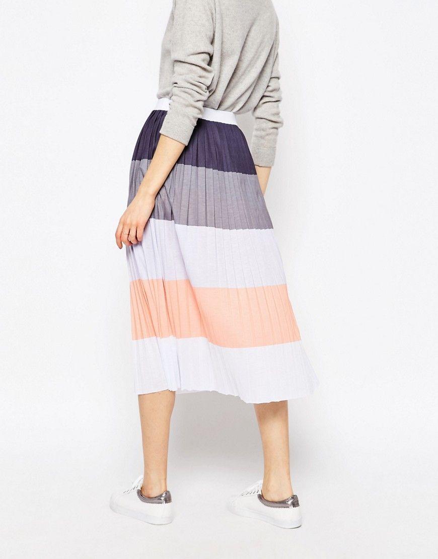 http://bit.ly/1TBDvfW ASOS Pleated Midi Skirt in Colour Block