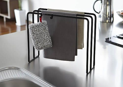 Tea Towel Dishcloth Dryer Rack Black